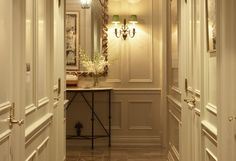 Wall paneling, classic, traditional, married nicely with door detail. ingt matthew sapera. wall sconce « Garden, Home & Party