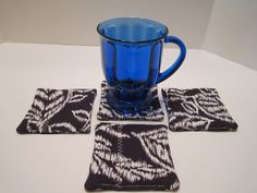 Fabric Drink Coasters in Navy and White Linen Blend by vertzvkv