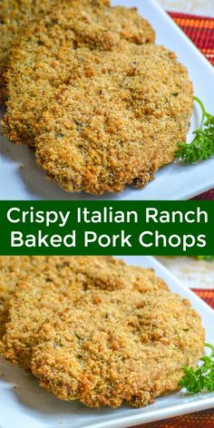 A simple pork chop is marinaded in ranch dressing, coated in a thick Italian bread crumb topping, and baked to crispy perfection. These Crispy, Baked Italian Ranch Pork Chops are a tasty new way to make an easy, family favorite pork chop supper. Oven Pork Chops, Pork Chops And Rice, Ranch Pork Chops, Boneless Pork Chops, Pork Ribs, Italian Pork Chops, Breaded Baked Pork Chops, Pork Chop Rice Bake, Pork Chops Bread Crumbs