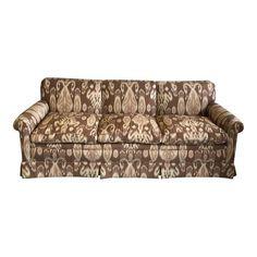 Brown & Cream Ikat Sofa