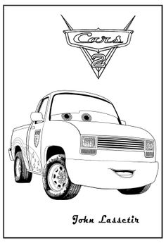Cars 2 Printable Coloring Pages | cars coloring john lassetire cars coloring lizzie cars coloring the