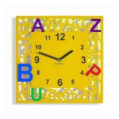Stvorcove detske hodiny s pismenkami Clock, Wall, Decor, Watch, Decoration, Clocks, Walls, Decorating, Deco