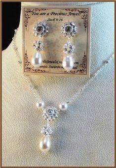 New w/Swarovski Pearl/Floret Crystal Pendant Necklace & Earring Set #HisJewelsCreationsDesign