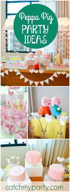 How fun is this Peppa Pig themed birthday party?! See more party ideas at…