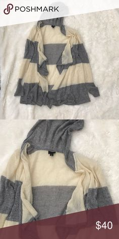 Medium {Anna Sui} Striped Hooded Sweater Gray and cream sweater with hood. 46% Acrylic 34% Nylon 20% Mohair. Very soft and lightweight. Anna Sui Sweaters