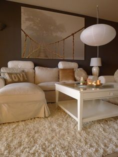 Beige living room idea - light furniture and dark walls
