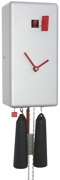 "Romba CL34-6 ""Karee"" Rectangular Design 8-Day Cuckoo Clock - Silver"