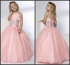 Wholesale Flower Girls' Dresses - Buy 2014 Pink Organza Pretty Beadings Girls Pageant Dresses Princess One-Shoulder Ball Gown Floor-Length Zipper Tulle Pink Flower Girls' Dresses, $57.23 | DHgate