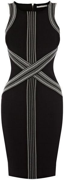 Karen Millen Tribal Graphic Stripe Bandage Dress - Lyst