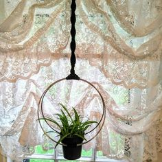 Modern Macrame Unique Double Hoop Plant hanger W/ Pot included ~~~ other colors available / free ship Macrame Hanging Planter, Macrame Plant Holder, Plant Holders, Hanging Planters, Flower Planters, Flower Pots, Neon Pothos, Pot Hanger, Metal Beads