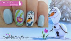 Olaf Nails. Paso a paso aqui: http://www.decoandcrafts.com/2013/12/frozen-nails.html