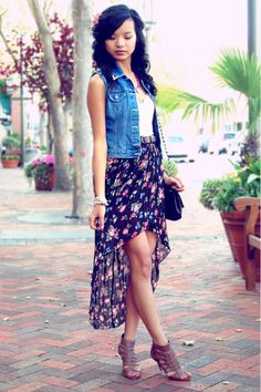 High / Low skirt and denim jacket or vest. I send plan on rocking this SS