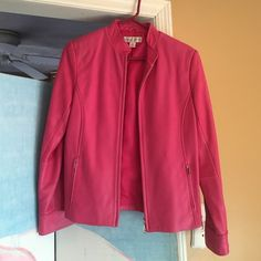 Leather pink jacket Hot pink .. Has small water mark on right side Casual corner Jackets & Coats Blazers
