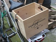 wooden wine crate on bike Napa Vineyards, Wooden Wine Crates, Wine Rack Cabinet, Alcohol Signs, Outdoor Planters, Modern Country, Cottage Chic, Barn Wood, Toy Chest