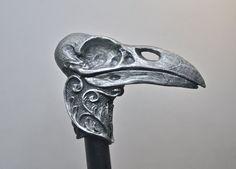 Raven Skull Cane by Dellamorteco on Etsy