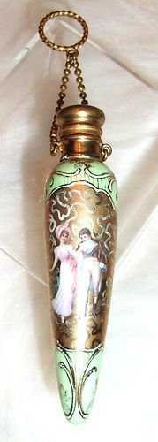 VTG PERFUME CHATELAINE SCENT BOTTLE SEVRES PORTRAIT ENAMEL FINGER RING