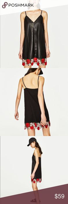 Zara black faux leather dress with lace trim Love red lace hem! Simple lines.. new favorite LBD Zara Dresses