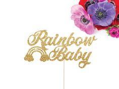 Baby Shower Cake Topper, Rainbow Baby Cake Topper, Miracle Baby Cake Topper, Baby Shower Decor, Mother to Be Cake Topper, Gold Baby Shower