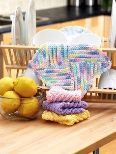 Pretty Pastels Dishcloth | Yarn | Knitting Patterns | Crochet Patterns | Yarnspirations
