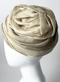 a7be73d08cd 1950s Christian Dior Draped and Pleated Silk Ombre Beige Turban Hat 4 Turban  Hat
