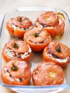 Tomatoes stuffed with hot goat cheese - Tomatoes stuffed with hot goat cheese - Veggie Recipes, Vegetarian Recipes, Healthy Recipes, Food Porn, Salty Foods, Smoked Bacon, Fruits And Veggies, Cooking Time, Love Food