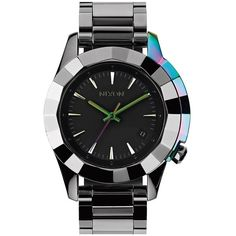 Nixon 'The Monarch' Iridescent Accent Faceted Bezel Bracelet Watch,... (2.708.580 IDR) ❤ liked on Polyvore