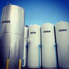 When the tanker trucks arrive at our Waterbury Factory, the milk and cream are pumped into four 6,000 gallon storage silos and are held there at 36 degrees. #benandjerrysfactorytour (Taken with Instagram at Ben & Jerry's)