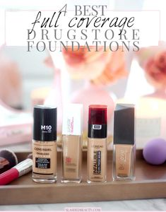 Discover the 4 Best Full Coverage Drugstore Foundations | You don't have to spend a ton of money to get long lasting coverage! | Slashed Beauty #drugstoremakeup #drugstorefoundation #fullcoveragefoundation