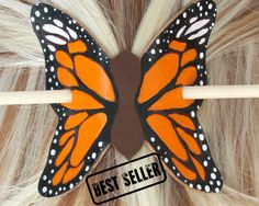 Gift For Her, Best Christmas Gift For Her, Monarch Butterfly, Hair Stick, Leather Hair Accessories,  Stocking Stuffers For Women