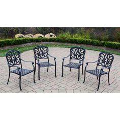 Hampton Cast Aluminum Stackable Patio Dining Chair (4 Pack)