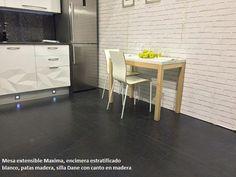 Mesa Para Cocinas Estrechas Y Alargadas En Blanco Y Madera #test1