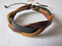 Leather and Multicolour Cotton Rope Woven Bracelets by sevenvsxiao, $3.00
