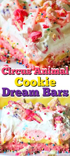 These NO BAKE Circus Animal Cookie Dream Bars with a Circus Animal cookie crust sweetened cream cheese layer pudding and Cool Whip are a fun and colorful dessert that are sure to bring out the kid in anyone! Cookie Desserts, Fun Desserts, Delicious Desserts, Dessert Recipes, Yummy Food, Bar Recipes, Healthy Recipes, Rainbow Desserts, Colorful Desserts