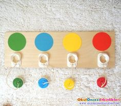 Milk caps to make a Color matching screw game~good for fine motor skills Toddler Fine Motor Activities, Educational Activities For Preschoolers, Montessori Activities, Color Activities, Infant Activities, Preschool Activities, Toddler Classroom, Montessori Toddler, Toddler Play