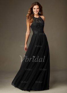 Bridesmaid Dresses - $124.00 - A-Line/Princess Scoop Neck Floor-Length Tulle Bridesmaid Dress With Embroidered Beading Sequins (0075095147)
