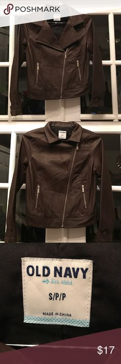 Killer brown Moto jacket. This is a great jacket. Looks amazing with skinny jeans and boots. Looks like leather, but it's polyurethane. Still super cool. Brown. Size S Old Navy Jackets & Coats Blazers