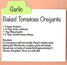 Baked Tomatoes Oreganta