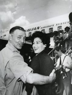 "Clark Gable and Ava Gardner arrive in Africa to begin filming ""Mogambo"" in 1952."