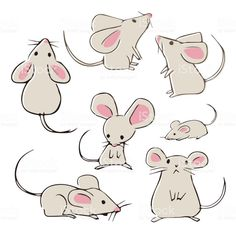 Find Cute Handdrawn Mice Different Poses On stock images in HD and millions of other royalty-free stock photos, illustrations and vectors in the Shutterstock collection. Cute Animal Drawings, Animal Sketches, Art Drawings Sketches, Cartoon Drawings, Easy Drawings, Maus Illustration, Elephant Illustration, Space Illustration, Landscape Illustration