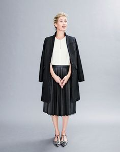 J.Crew women's Regent topcoat, two-tone pleated combo dress and Collection calf hair T-strap flats.
