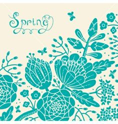 Vintage card with a blossoming branch vector by Baksiabat on VectorStock®
