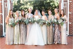 Bridesmaids Dresses (Rent the Runway) and bouquets by FlowerVibes.