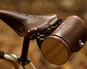"""Bicycle Saddle Bag - """"The Barrel Bag"""" Bicycle Bag - Leather Bicycle Accessories - Arrive in style with the Barrel Bag, a hand-stitched, vegetable-tanned leather seat bag reminiscent - Cafe Racer Moto, Bicycle Seats, Bicycle Bag, Leather Bicycle, Leather Bag, Saddle Leather, Tooled Leather, Brown Leather, Cordon En Cuir"""
