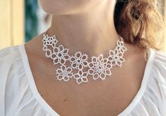 Bridal accessory handmade tatted floral necklace in pure by smaks on Etsy
