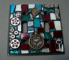 Steampunk Mosaic Switchplate Mixed media Double Toggle by zzbob