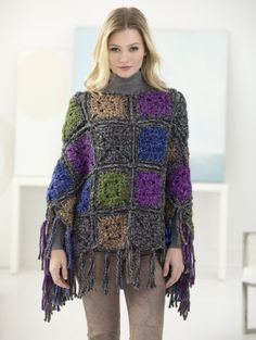 Crochet the Wicker Park Poncho for a modern mix of granny squares and accent fringe! Made with 8 balls of Wool-Ease Thick & Quick and a Size N-13 (9 mm) hook.