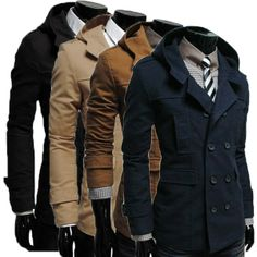 Men Double-Breasted Coat Hoodie Jacket Casual Windbreaker via martEnvy. Click on the image to see more!