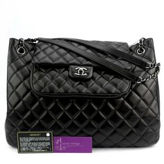 CHANEL Shopping Bag Black Color Lambskin With Silver Hardware Very Good Condition Ref.code-(KOUU-1) More Information Pls Email  (- luxuryvintagekl@ gmail.com )