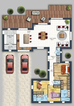 constructeur maison moder - Home Decora La Maison Home Design Plans, Plan Design, House Map, Sims House, Architecture Plan, Modern House Design, House Floor Plans, Home Builders, Home Projects