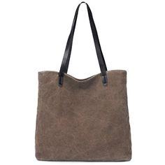 Leisure Pure Color and Canvas Design Women's Shoulder Bag